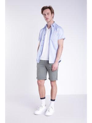 Short coton lin vert kaki homme