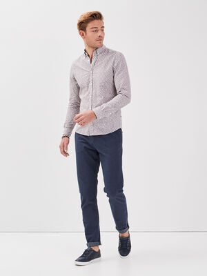 Pantalon chino texture bleu marine homme