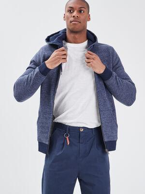 Sweat manches longues zippe bleu fonce homme