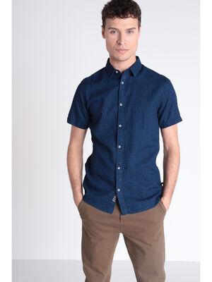 Chemise manches courtes bleu fonce homme