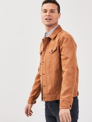 Veste cintree manches longues marron clair homme