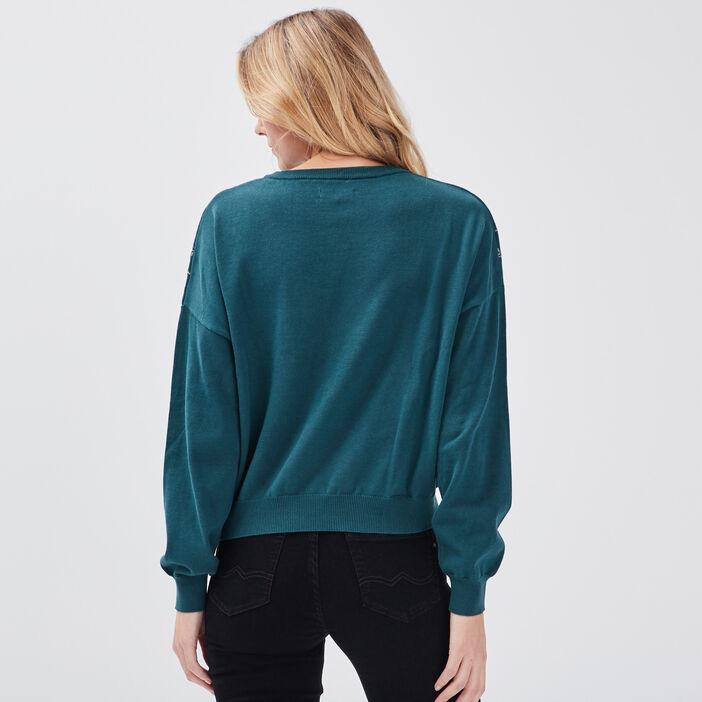 Pull de noël vert émeraude femme