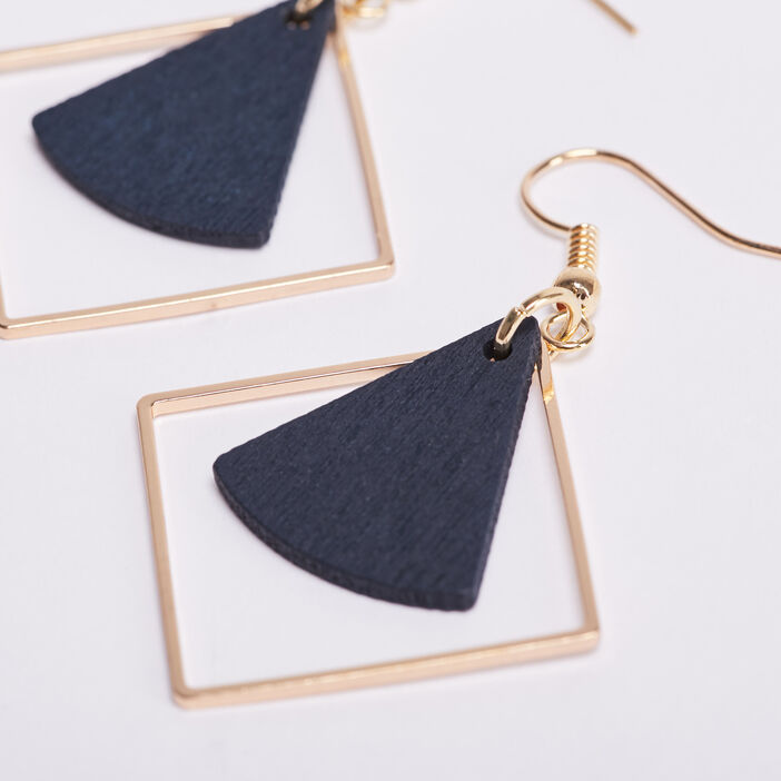 Boucles d'oreilles pendantes bleu marine femme
