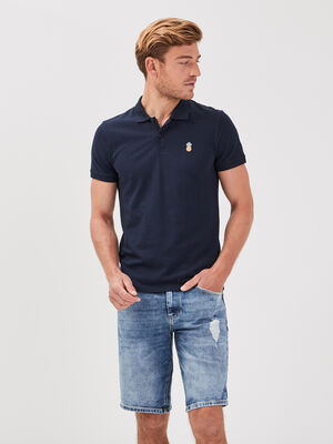 Bermuda droit en jean denim bleach homme