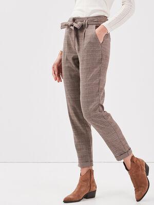 Pantalon paperbag ceinture marron femme