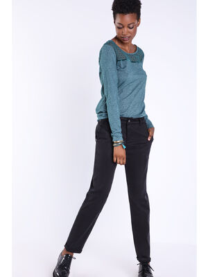 Pantalon chino details metallises noir femme