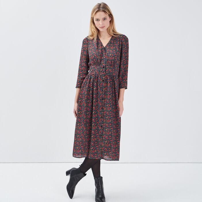 Robe longue évasée multicolore femme