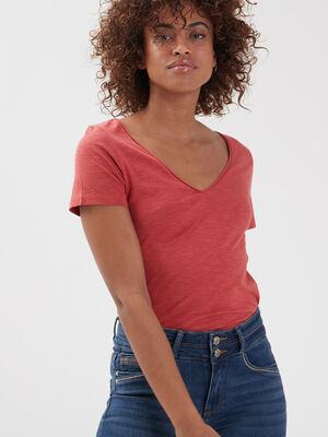 T shirt manches courtes terracotta femme