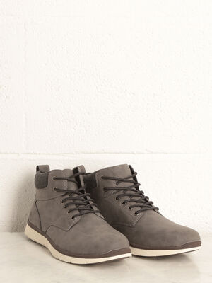 Bottines plates a lacets gris homme
