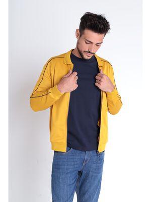 Gilet manches longues zippe jaune homme