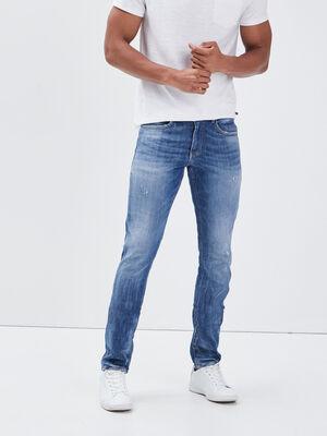 Jeans slim details destroy denim stone homme