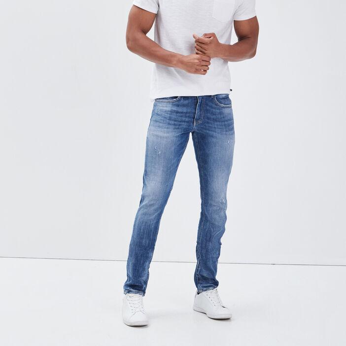 Jeans slim détails destroy denim stone homme