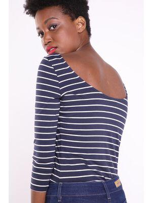 T shirt droit manches 34 Instinct bleu fonce femme