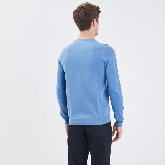 Sweat col rond bleu homme