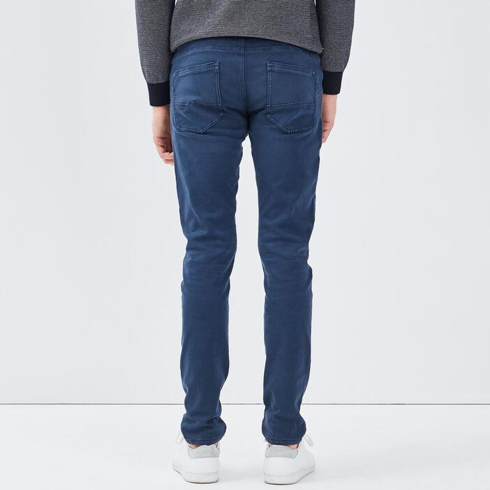 Pantalon slim 5 poches bleu marine homme