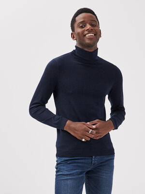 Pull col roule 100 laine merinos bleu marine homme