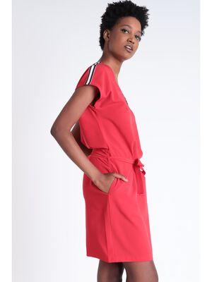 Robe detail zip rouge fluo femme