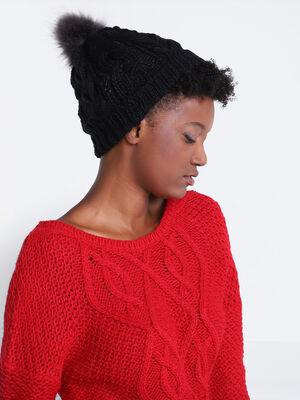 Bonnet jeu de maille noir femme