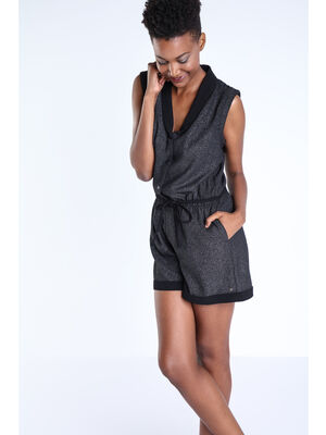 Combinaison short irisee noir femme