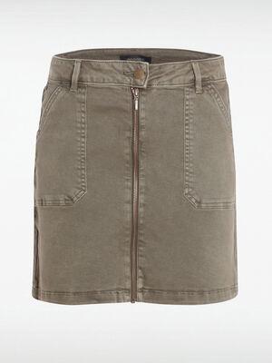 Jupe en jean ajustee zippee vert kaki femme