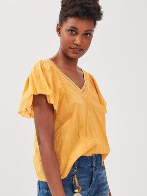 Blouse manches courtes jaune femme