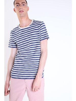 T shirt col rond rayures bleu fonce homme