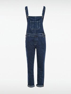 Salopette droite en jean denim stone femme