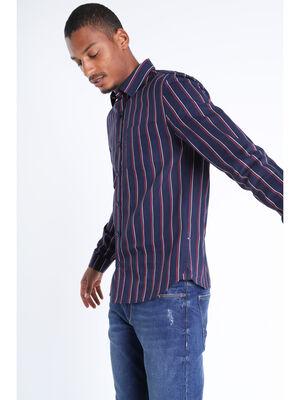 Chemise manches longues bleu fonce homme