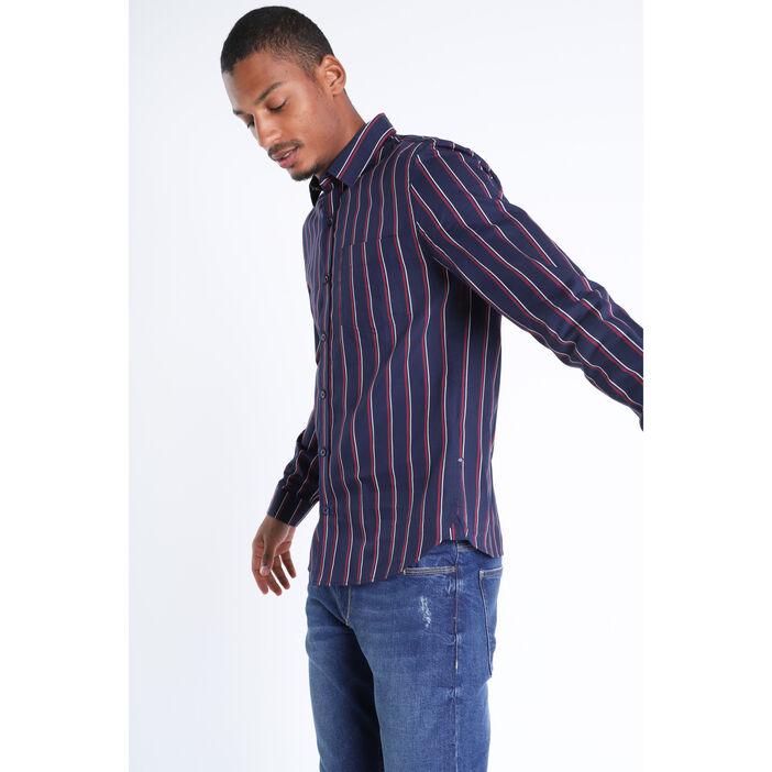 Chemise manches longues bleu foncé homme
