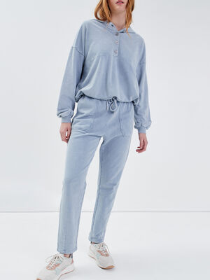 Pantalon jogging bleu gris femme