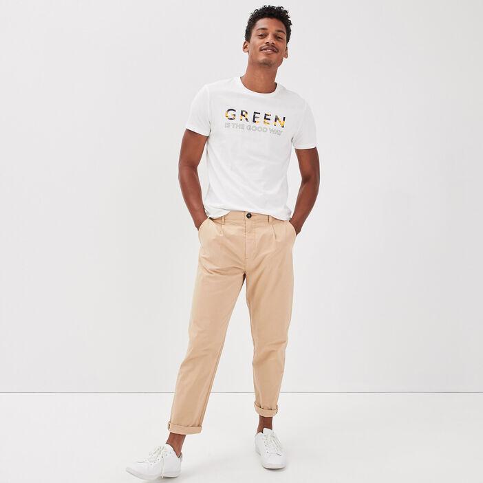 Pantalon chino avec pinces beige homme