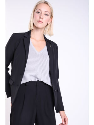 Veste tailleur taille cintree noir femme