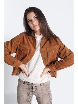 Veste droite velours cotele marron femme