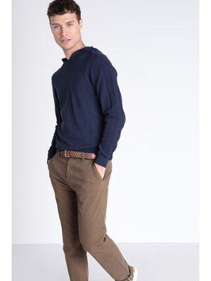 Pull a capuche uni bleu fonce homme