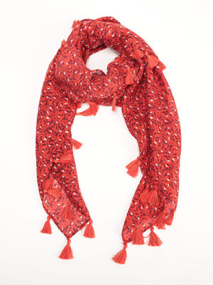 Foulard a glands orange femme