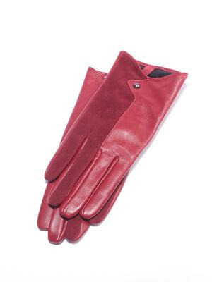 Paire gants en cuir rouge femme