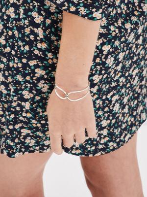 Bracelet manchette martele couleur argent femme