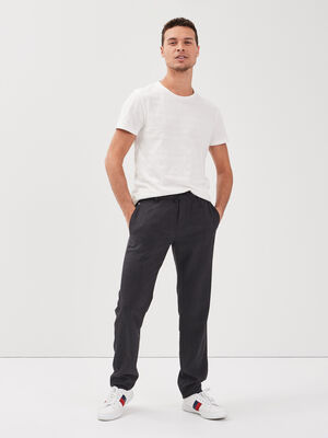 Pantalon chino cordon taille noir homme