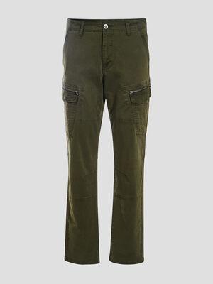Pantalon battle details zippes vert kaki homme