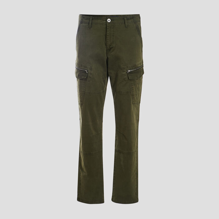 Pantalon battle détails zippés vert kaki homme