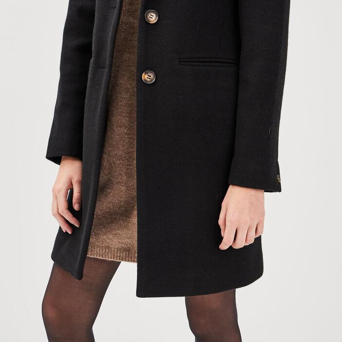 Manteau droit boutonné noir femme