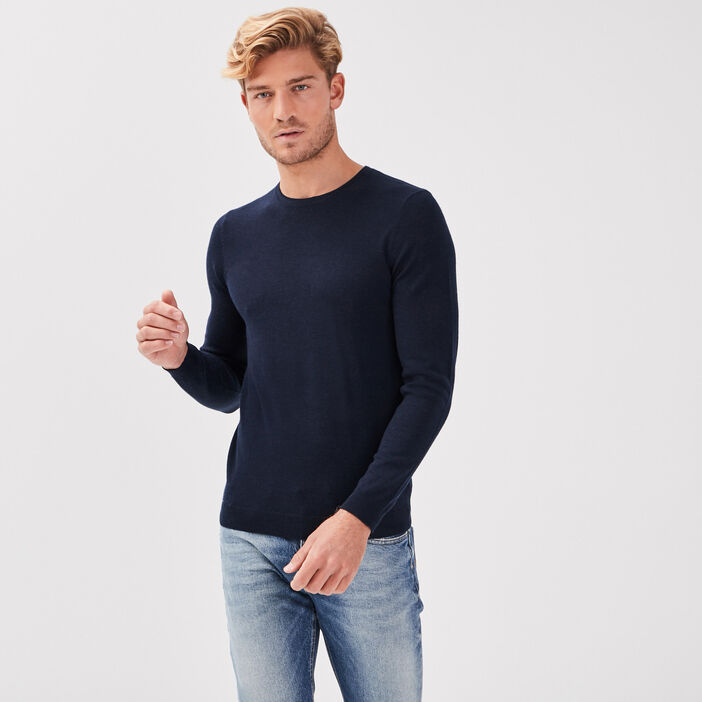 Pull col rond 100% laine merinos bleu marine homme