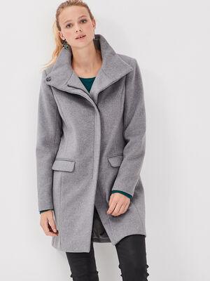 Manteau droit col montant gris femme