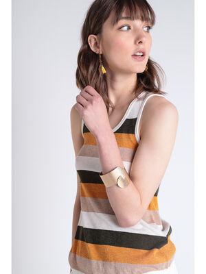 Bracelet manchette embosse couleur or femme