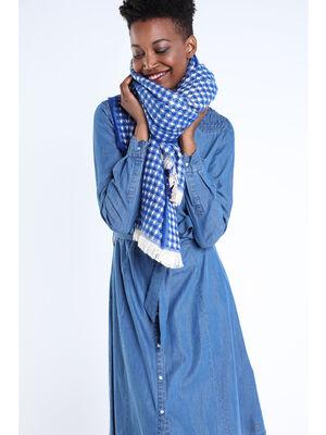 charpe maille losanges bleu electrique femme