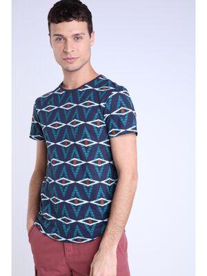 T shirt lin bleu fonce homme