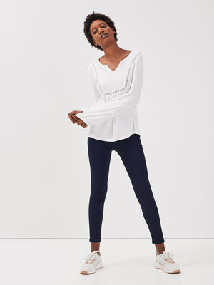 Jeans skinny poches plaquees denim brut femme