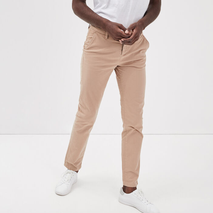 Pantalon straight Instinct chino ajusté marron homme