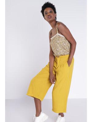 Pantalon fluide jaune citron femme