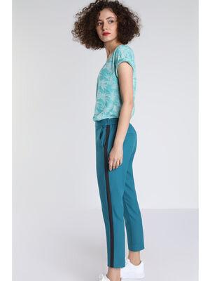 Pantalon droit city taille haute vert canard femme